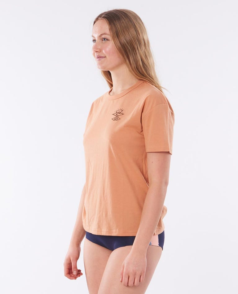 Searchers Poly/Cotton Short Sleeve Rash Vest in Coffee