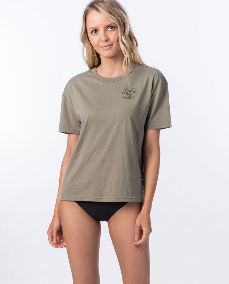 Searchers Poly/Cotton Short Sleeve Rash Vest in Olive