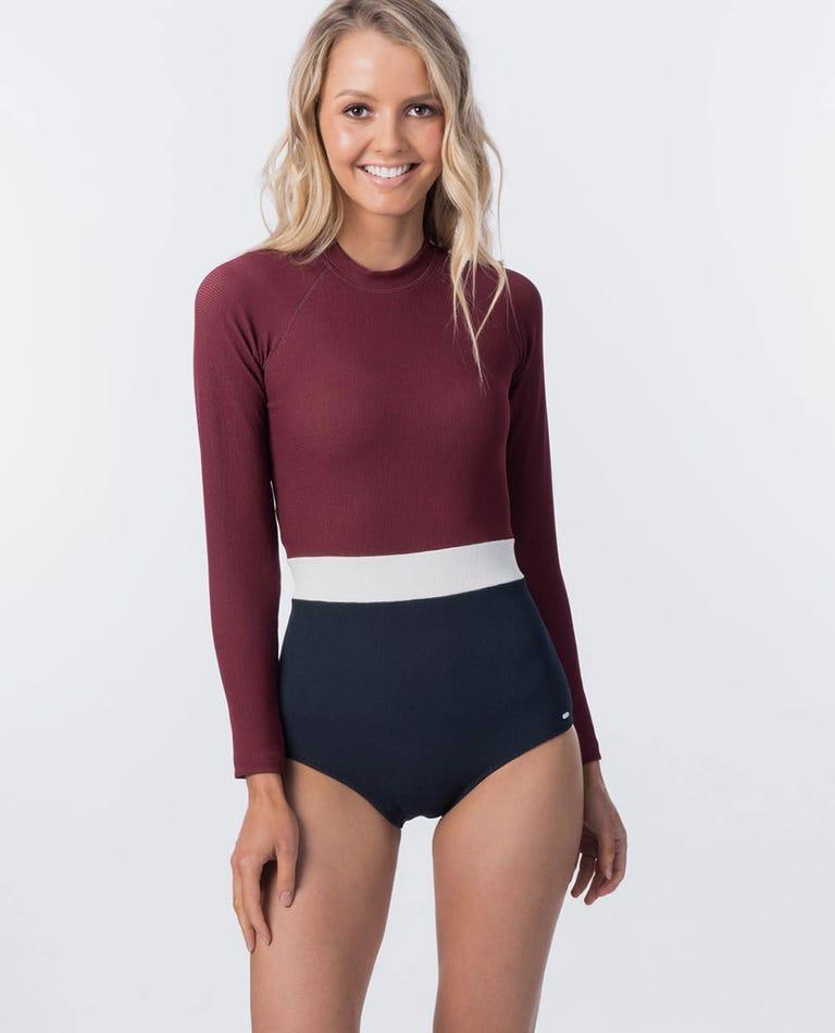 Seachers UV Surf Suit Rash Gaurd in Dark Red