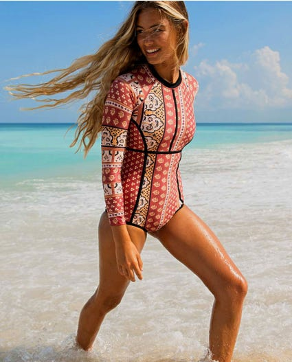 Saffron Skies UV Surf Suit in Rust