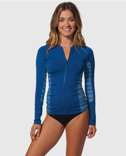 Trestles Front Zip Rash Guard in Charcoal