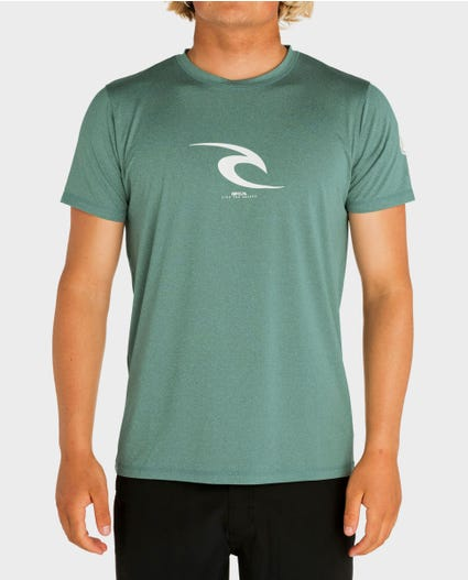 Icon Short Sleeve Rash Guard in Aqua