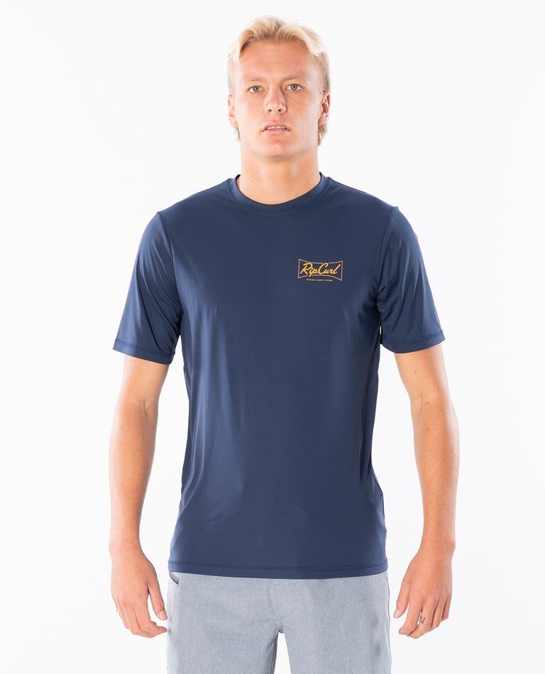 Commander Short Sleevel UV Tee Rash Vest in Navy