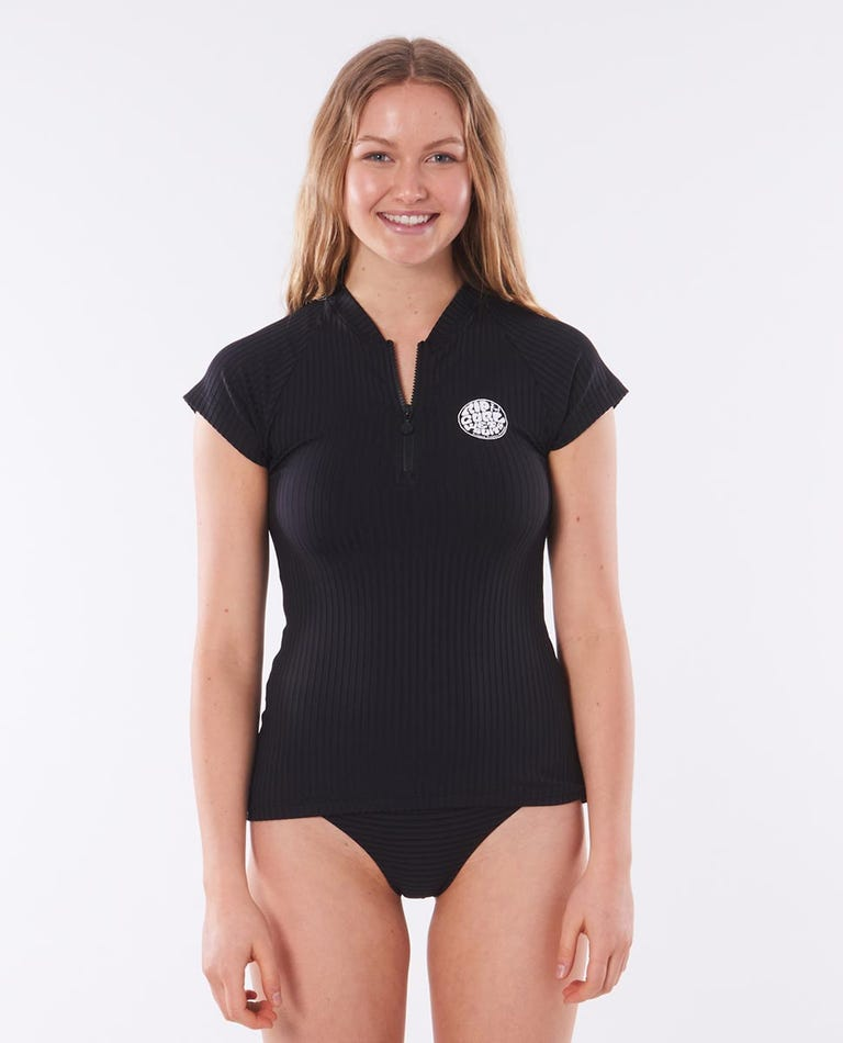 Premium Surf Essentials Cap Sleeve Front Zip Rash Vest in Black
