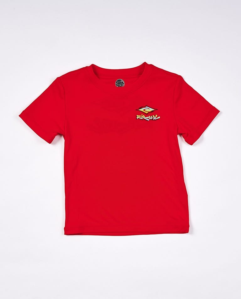 Diamond Fade Short Sleeve UV Tee Rash Vest Boys (0 - 6 years) in Red