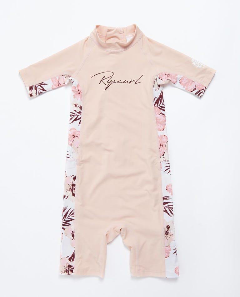 Short Sleeve UV Springsuit Girls (0 - 6 years) in Pink