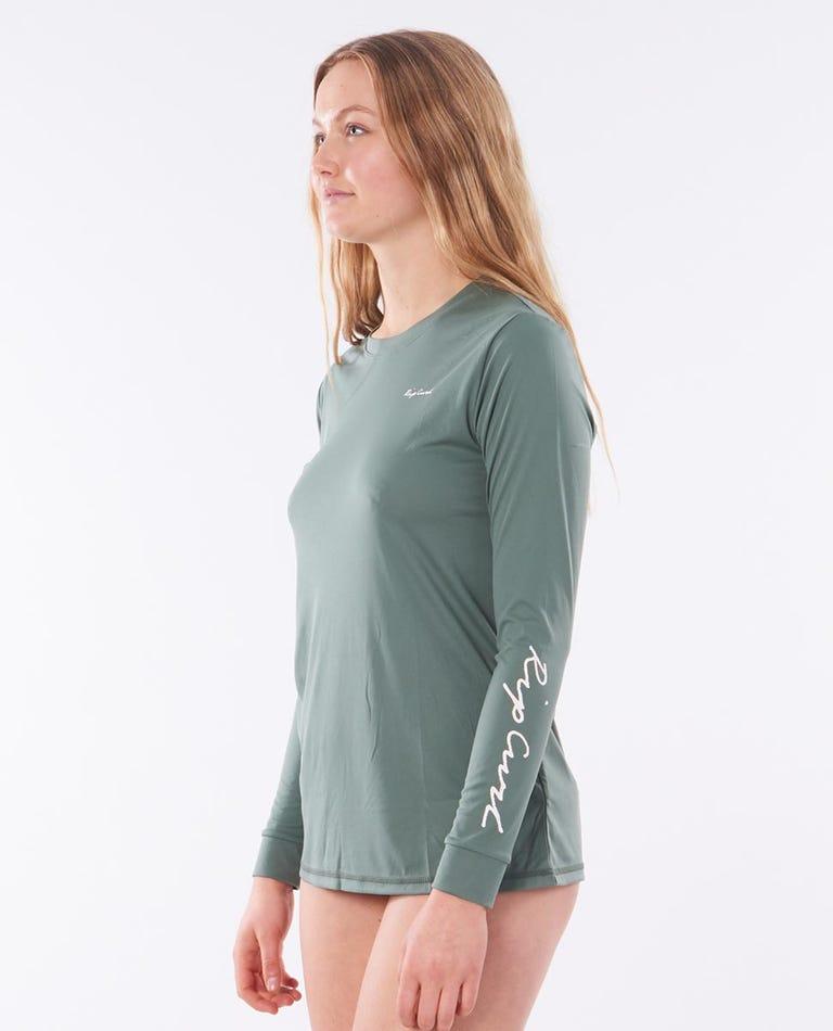 Tropic Sol Surflite Long Sleeve Rash Vest in Green