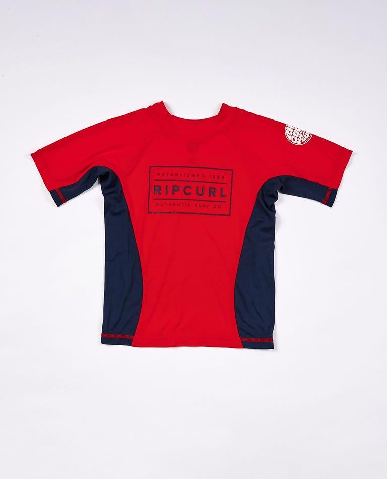 Driven Box Short Sleeve UV Tee Rash Vest Boys (0 - 6 years) in Red