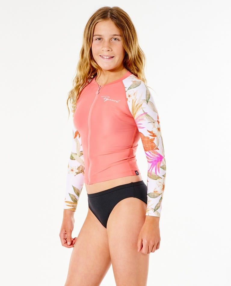 Zip Through Long Sleeve UV Tee Rash Vest Girls (8 - 16 years) in Pink