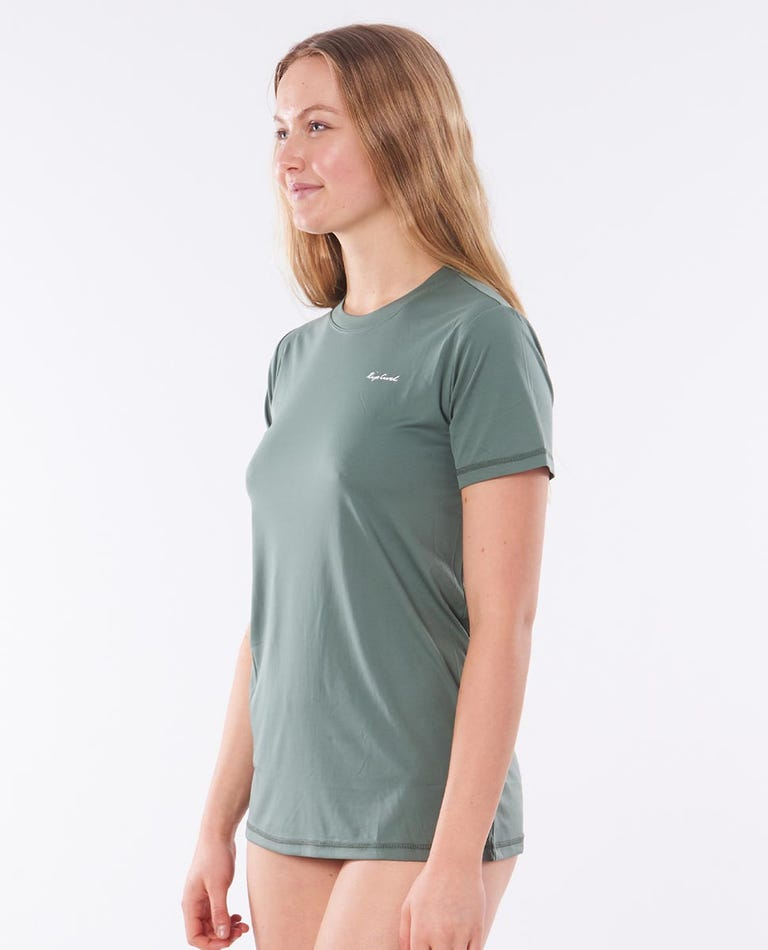 Tropic Sol Surflite Short Sleeve Rash Vest in Green