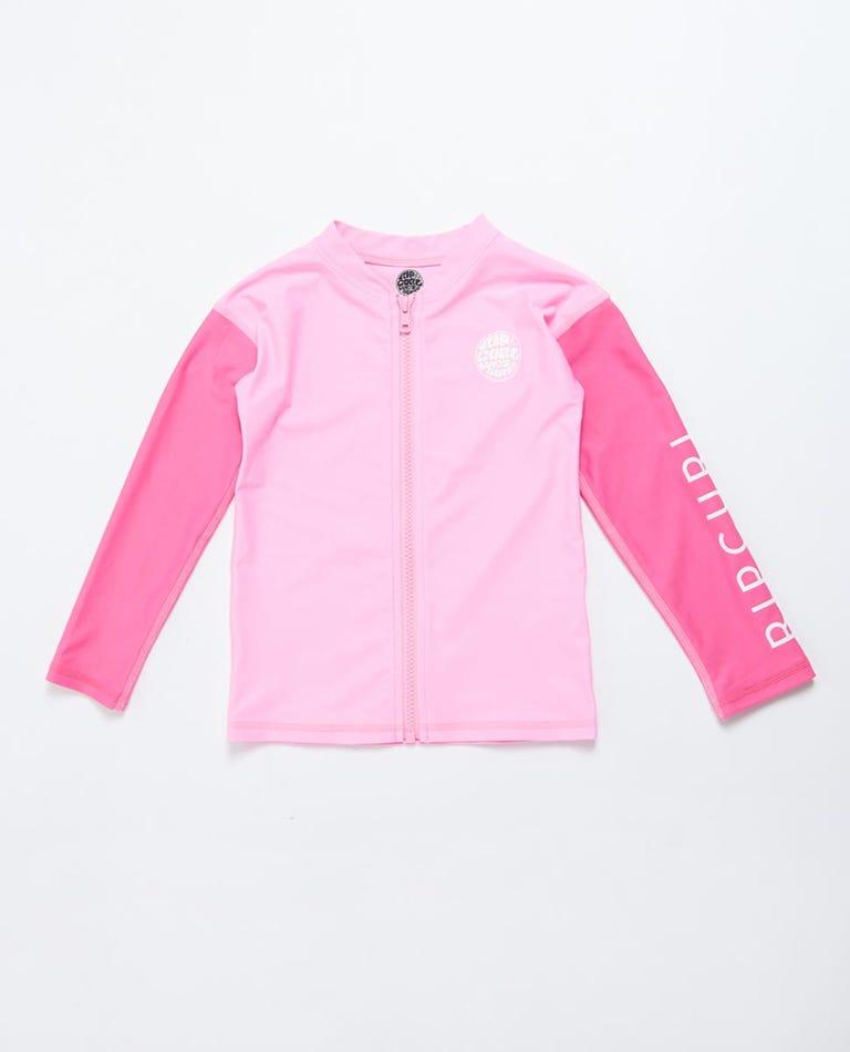 Long Sleeve Zip Through UV Tee Rash Vest Boys (0 - 6 years) in Pink