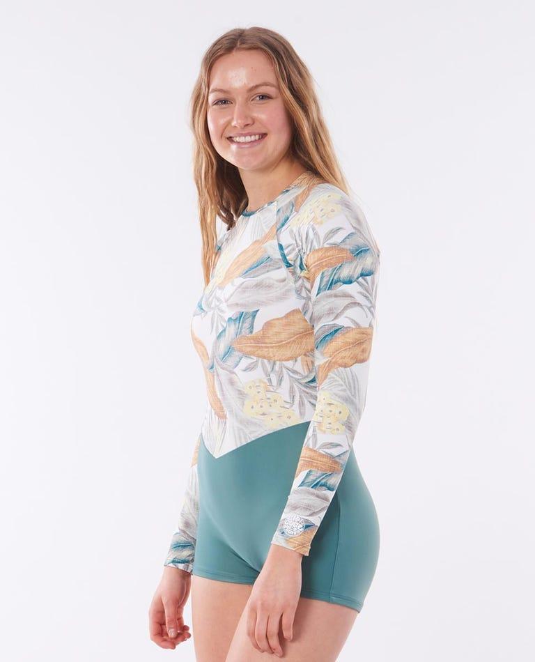 Long Sleeve Boyleg UV Surf Suit in White
