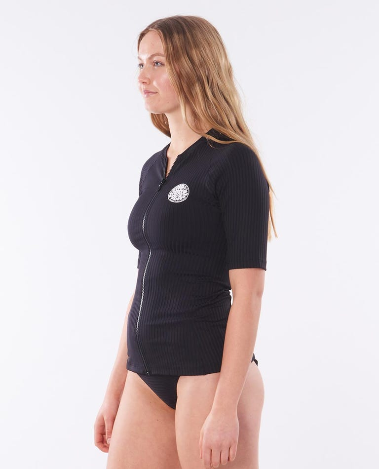 Premium Surf Zip Thru Short Sleeve Rash Vest in Black