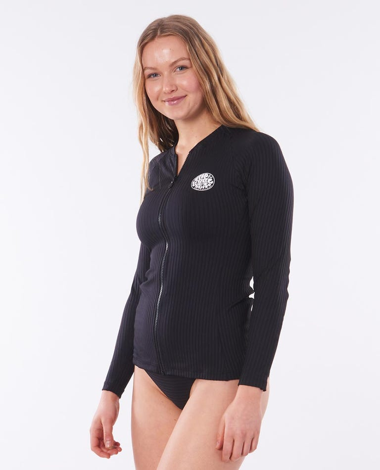 Premium Surf Zip Thru Long Sleeve Rash Vest in Black