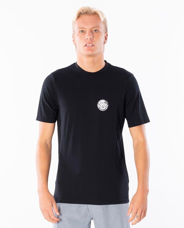 Wettie Logo Short Sleeve UV Tee Rash Vest in Black