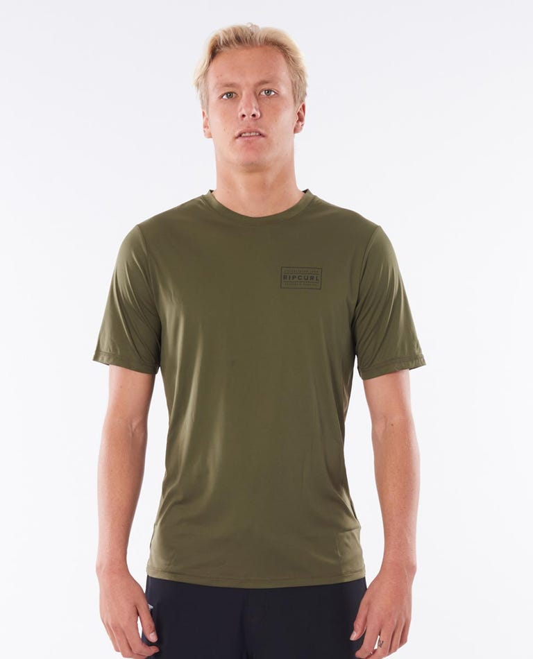 Driven Box Short Sleeve UV Tee Rash Vest in Khaki