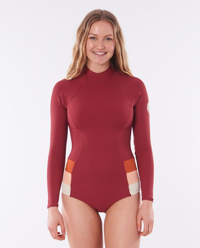 Golden Days Long Sleeve UV Surf Suit in Maroon