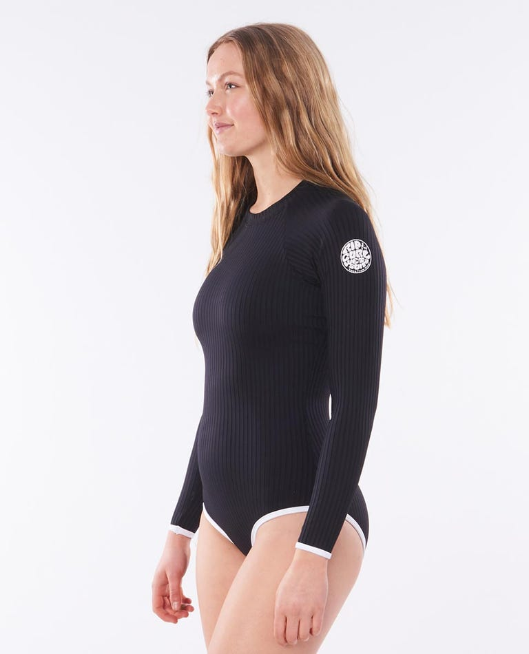 Premium Surf UV Long Sleeve Surf Suit in Black