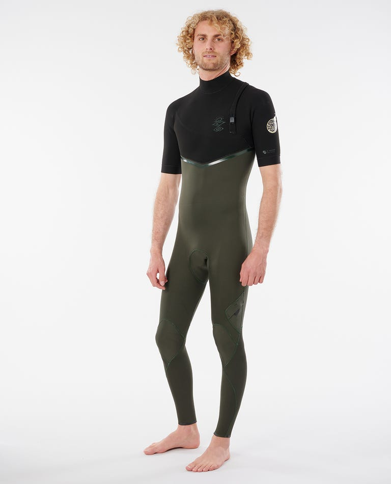 Mens E-Bomb 2/2 GB Sealed Zip Free Short Sleeve Wetsuit in Olive