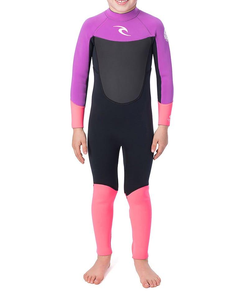 Kids Dawn Patrol 3/2 Wetsuit in Black / Pink