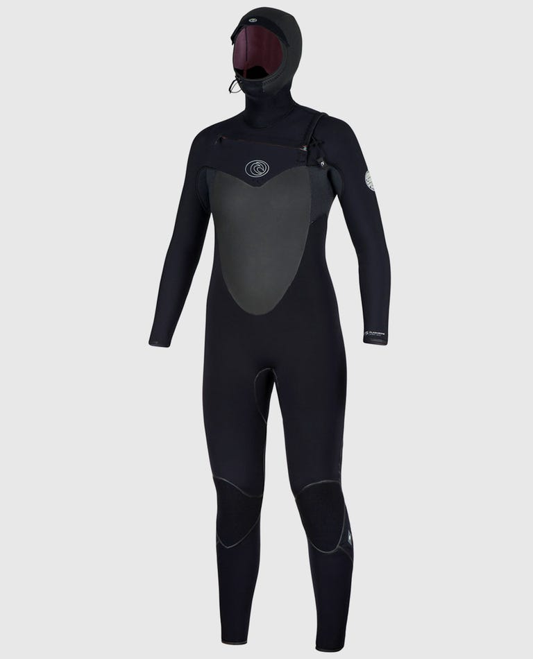 Womens Flashbomb Hooded 5/4 Chest Zip Wetsuit in Black