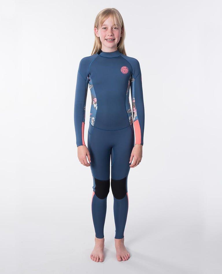 Junior Girls Dawn Patrol  4/3 Back Zip Wetsuit in Coral