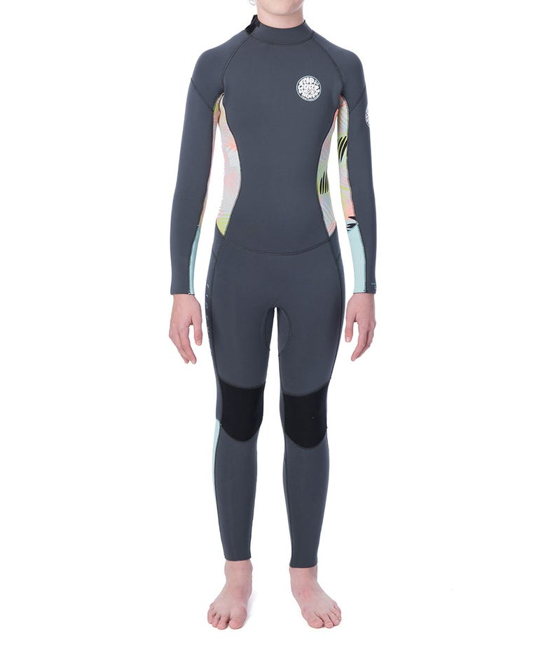 Junior Girls Dawn Patrol  4/3 Back Zip Wetsuit in Charcoal