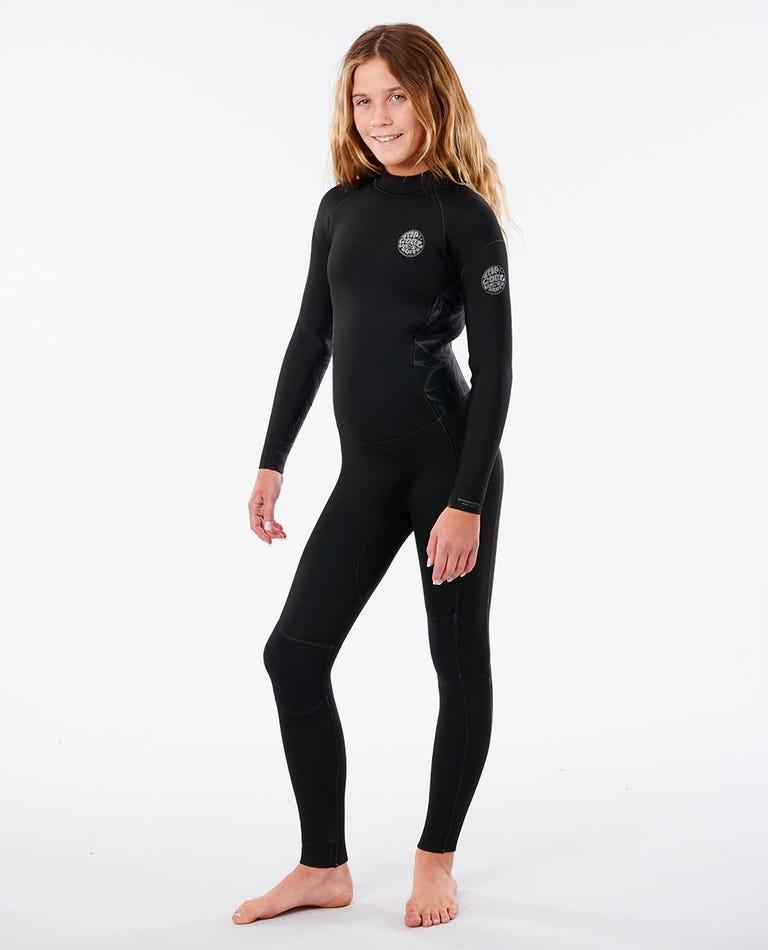 Junior Girl Dawn Patrol 3/2mm Wetsuit Steamer in Black/Charcoal