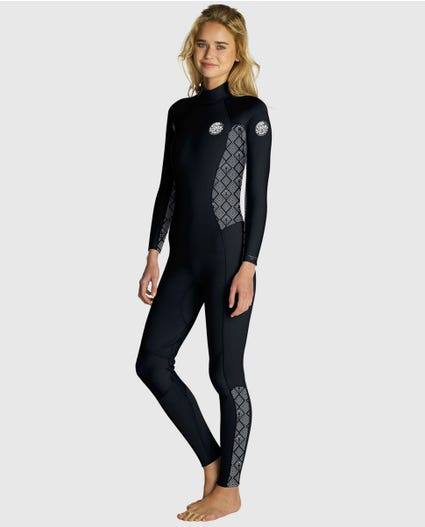 Womens Dawn Patrol 4/3 Back Zip Wetsuit in Black Wash