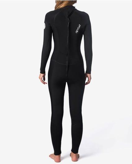 Womens Dawn Patrol 4/3 Back Zip Wetsuit in Black