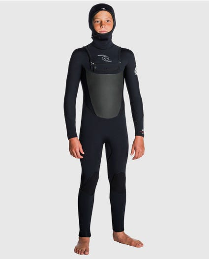 Junior Dawn Patrol 5/4 Hooded Chest Zip Wetsuit in Black