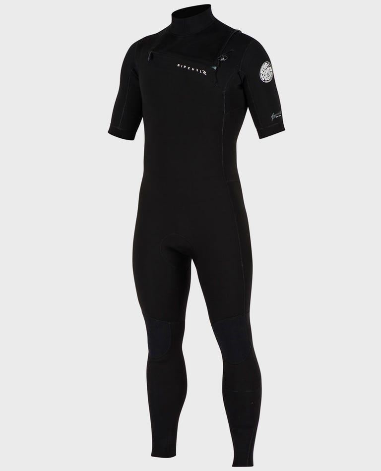Aggrolite S/S Full Chest Zip Wetsuit in Black