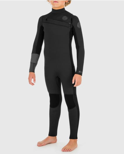 Youth Aggrolite 3/2 Chest Zip Wetsuit in Black