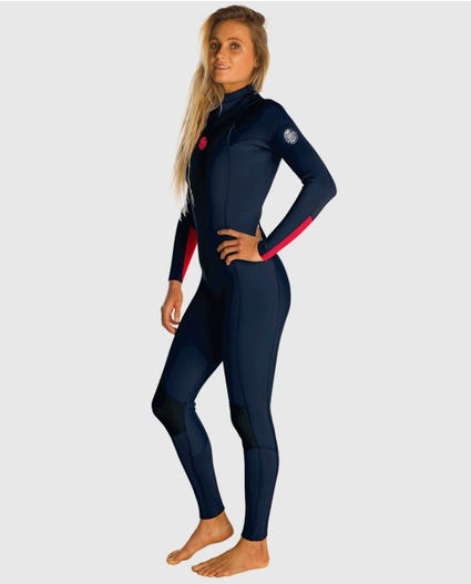 Womens Dawn Patrol 3/2 Chest Zip Wetsuit in Black