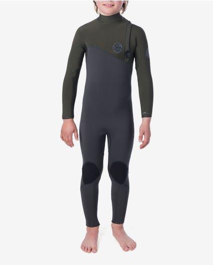 Youth Flashbomb 4/3 Zip Free Wetsuit in Khaki