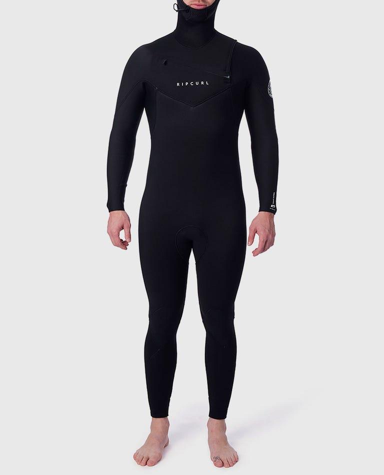 Dawn Patrol 5/4 Hooded Chest Zip Wetsuit in Black