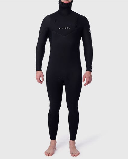 Dawn Patrol 5/4 Hooded Chest Zip Wetsuit in Black