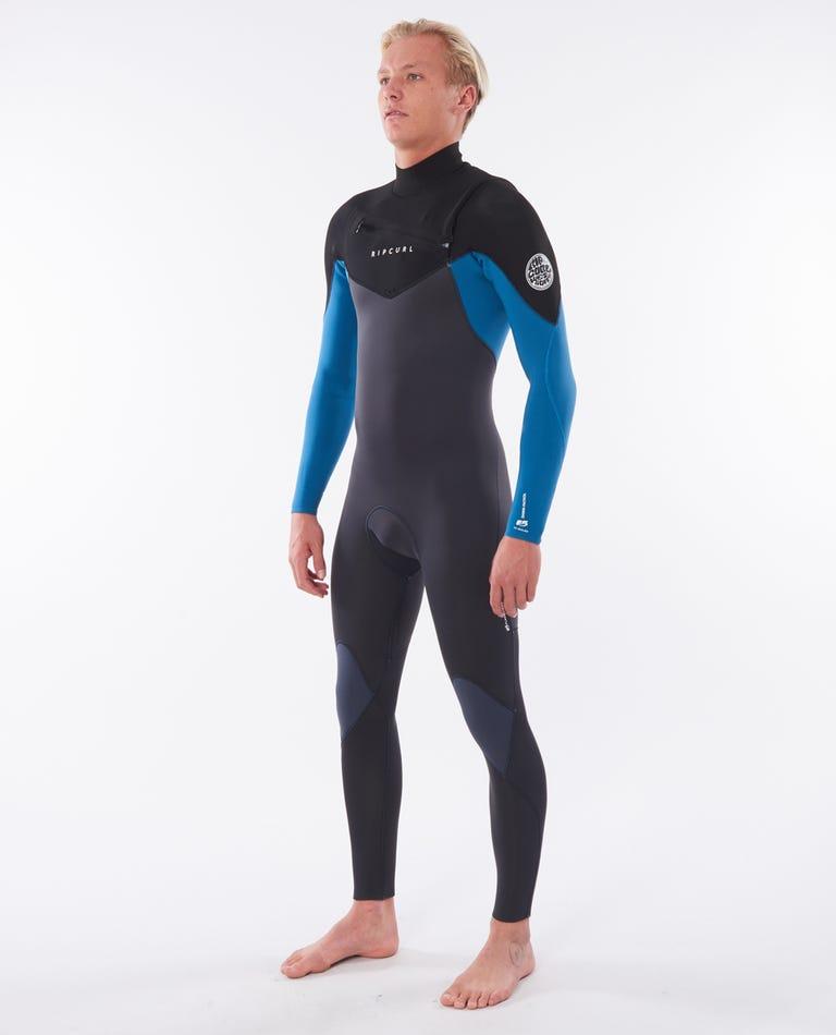 Dawn Patrol 4/3mm Chest Zip Wetsuit Steamer in Blue