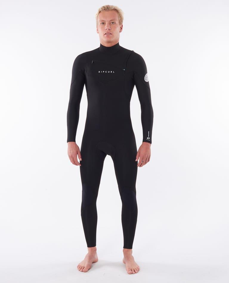 Dawn Patrol 4/3mm Chest Zip Wetsuit Steamer in Black
