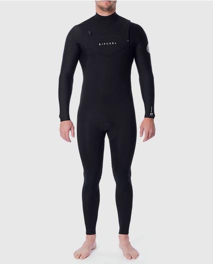 Dawn Patrol 4/3mm Chest Zip Wetsuit Steamer in Black