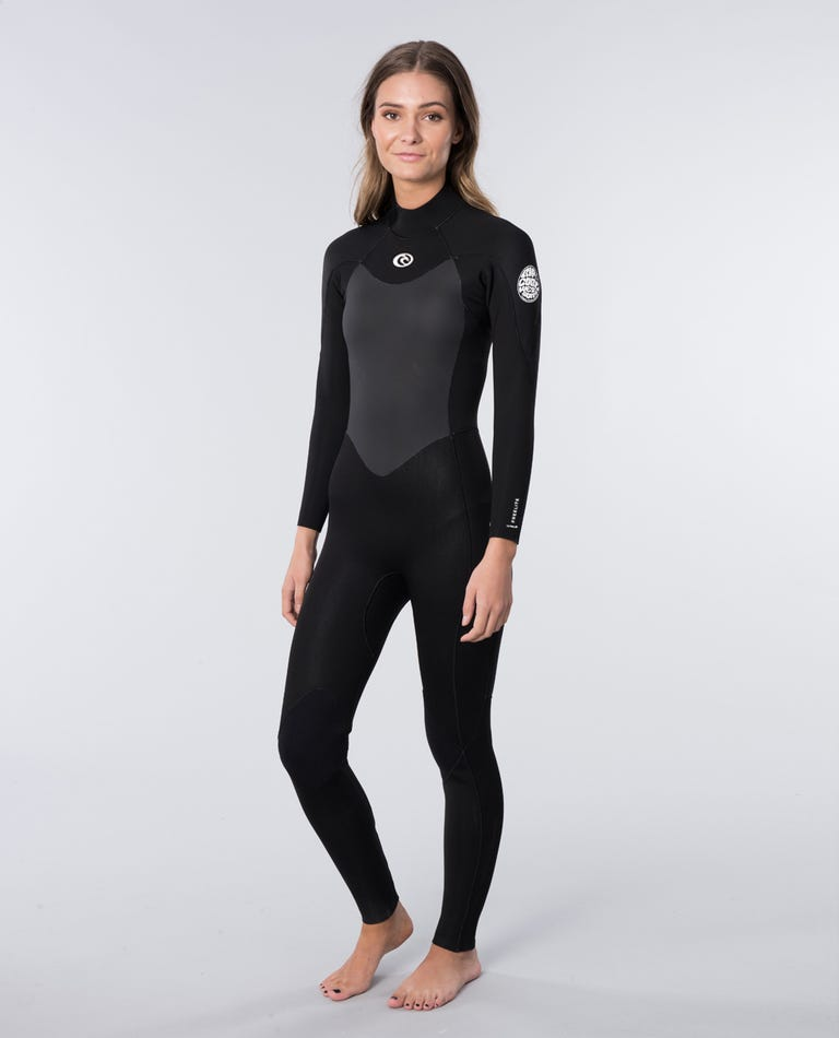 Omega 4/3mm Back Zip Long Sleeve Wetsuit Steamer in Black
