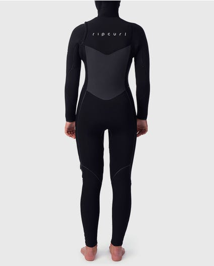 Womens Flashbomb 5/4 Hooded Wetsuit in Black