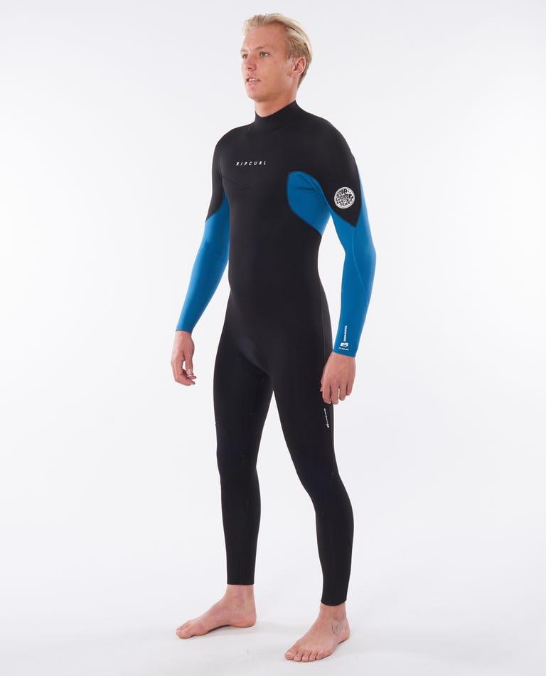 Dawn Patrol 3/2 Back Zip Wetsuit in Blue