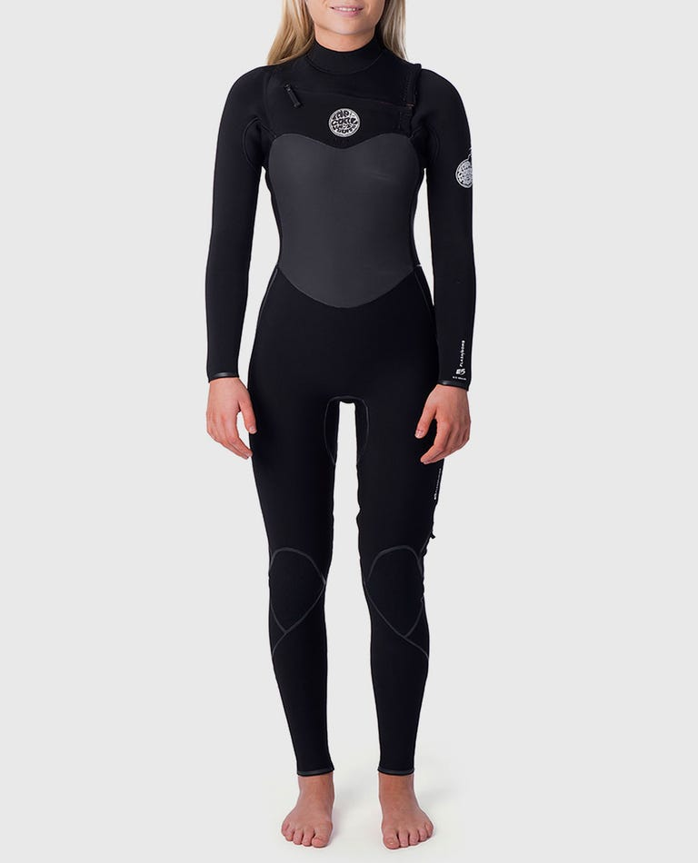 Womens Flashbomb 3/2 Chest Zip Wetsuit in Black