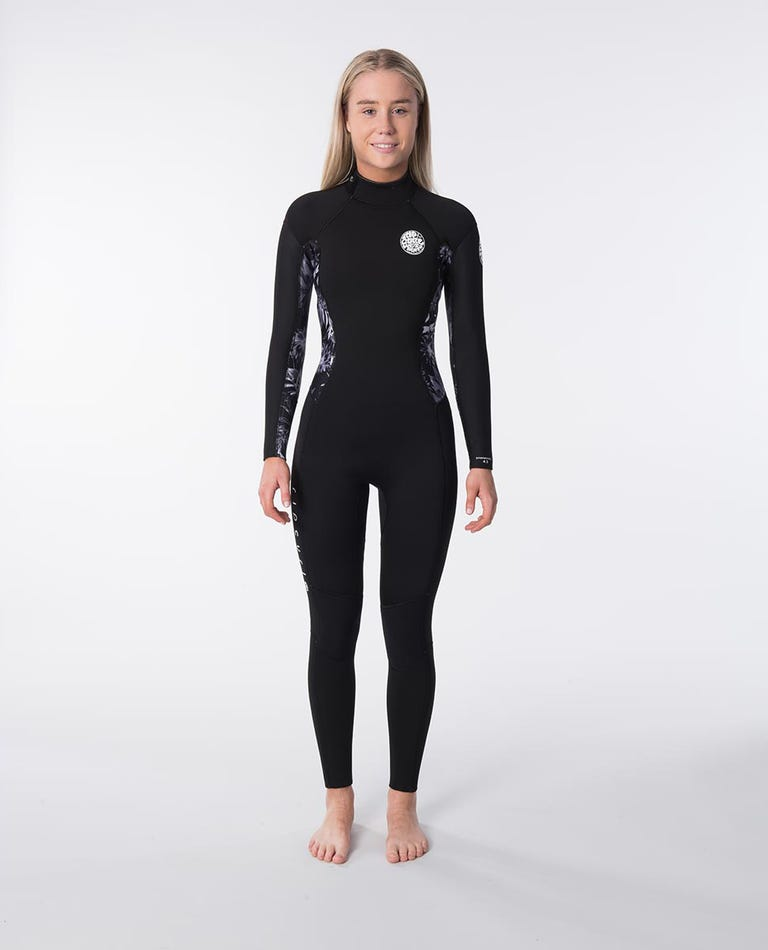 Dawn Patrol 4/3mm Back Zip Womens Wetsuit Steamer in Black/Grey