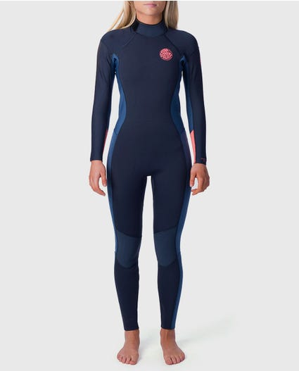 Womens Dawn Patrol 4/3 Back Zip Wetsuit in Black