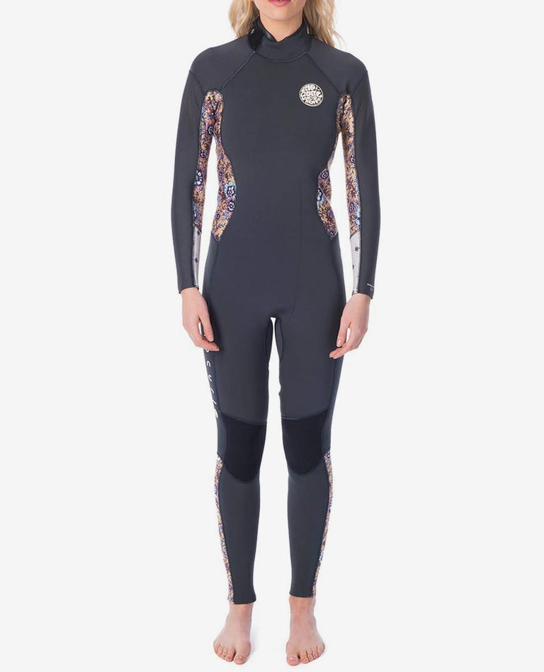 Womens Dawn Patrol 3/2 Back Zip Wetsuit in Charcoal Grey