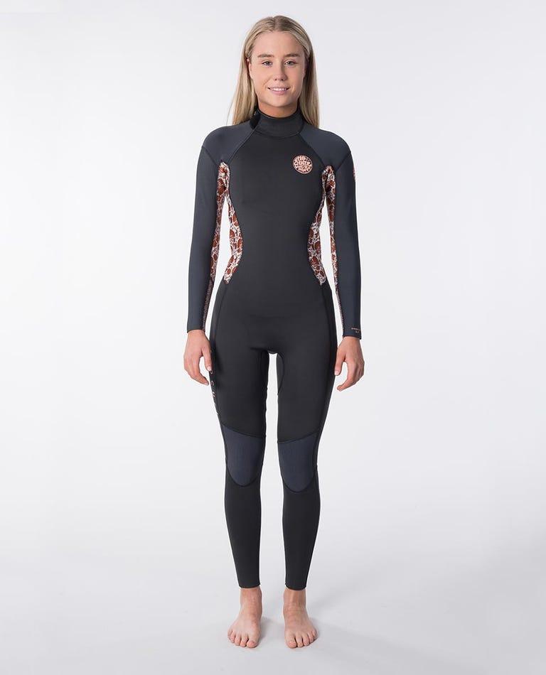 Womens Dawn Patrol 3/2 Back Zip Wetsuit in Dark Grey