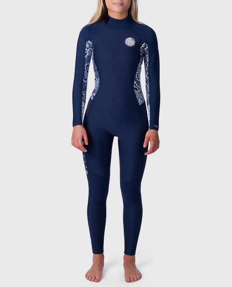 Womens Dawn Patrol 3/2 Back Zip Wetsuit in Dark Blue