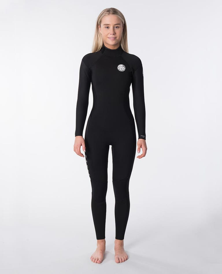 Womens Dawn Patrol 3/2 Back Zip Wetsuit in Black